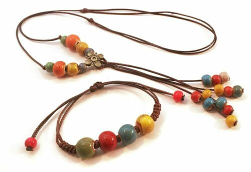 Multi-Colored Wood and Porcelain Bead Tassel Necklace   Adjustable length Tassel Necklace on Cord