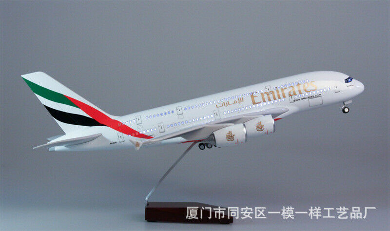 1 160 Emirates Airplane Model A380 LED Light Mini Simulation Passenger Aircraft