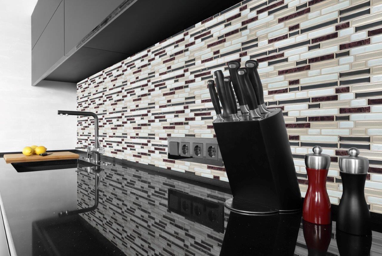 Paillettes & Brown 3d Gel Mosaic Mosaic Mosaic Effect self-adhesive Tile 245 x 235 mm | Porter-résistance  ed61ad