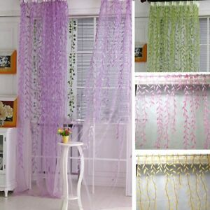Leaf-Printed-Tulle-Curtains-Balcony-Bedroom-Window-Sheer-Drapes-Home-Decorations