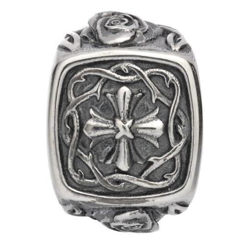 Kreuz mit Rose Dornen Rebeligion Silber für Leder Armband Black Rock Large