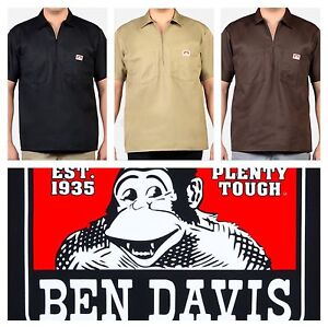 Ben-Davis-Short-Sleeve-Shirt-Half-Zipper-with-2-Pockets-Men-Solid-Stripe-Plaid