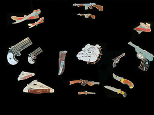 1980-039-s-Vintage-Mafco-Gun-amp-Knife-Collection-Lot-of-17-hat-pin-lapel