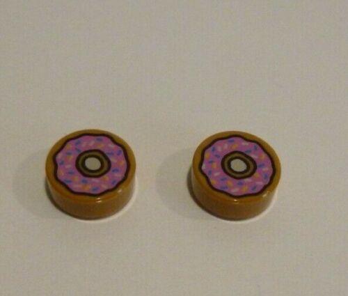 2 x LEGO® 98138//25462//31838 Fliesensteine 1x1 rund mit Druck mocca braun  #1