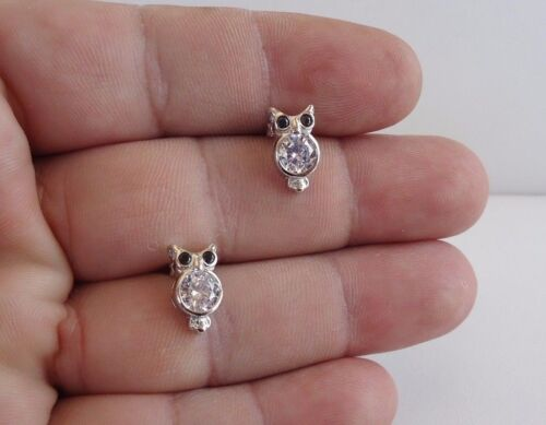 18MM BY 7MM STUD OWL 925 STERLING SILVER EARRINGS W// 2.20 CT LAB DIAMONDS