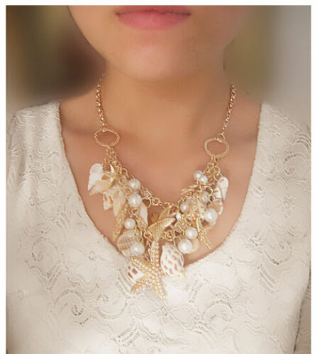 Summer Ocean Starfish Conch Shell Pearl Chain Beach Necklace Bracelet Jewelry UK