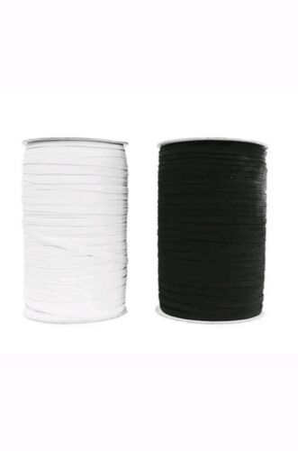 """6/""""mm 8 Cord Flat woven Quality Sewing Elastics White Black FREE /& FAST DELIVERY"""
