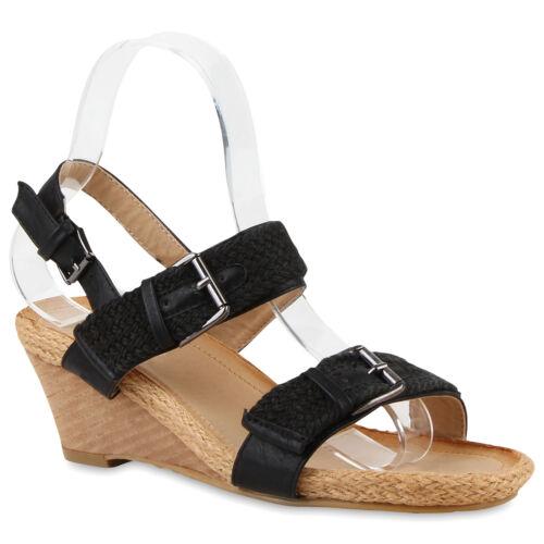 Damen Keilsandaletten Bast Sandaletten Schnallen Leder-Optik 810867 Schuhe