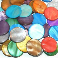 MP1619L Assorted Color Mother of Pearl 30mm Flat Round Gemstone Shell Beads 12pc