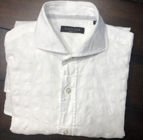 Medium Canali White Linen Button Down Sport Shirt