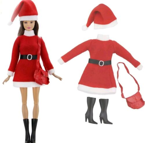New Barbie doll complete outfit red santa mrs Clause clothes dress boots hat