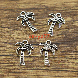 BULK 20 Palm Tree Charms Antique Silver Tone SC7357