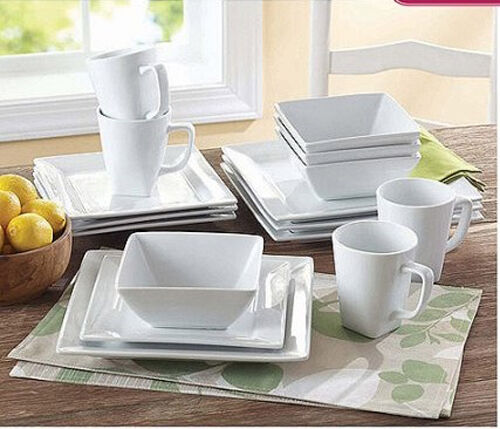 Dinnerware Set 16piece Square White Porcelain Kitchen Plates Dishes Service  Mugs | EBay