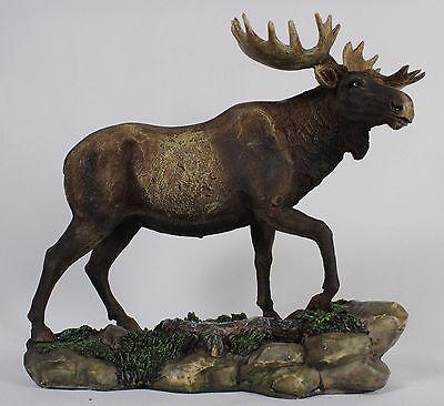 BULL MOOSE FIGURINE Desktop Statue NEW Animal Wildlife Deer Elk Polyresin Rustic