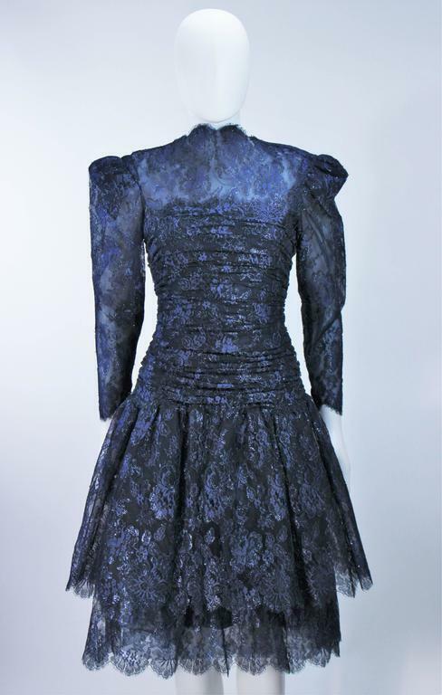ARNOLD SCAASI Navy Metallic Lace Cocktail Dress S… - image 3