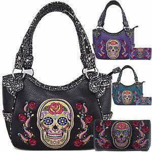 901abf65d512 Details about Western Embroidery Skull Rose Purse Handbag Messenger  Shoulder Bag Wallet Set