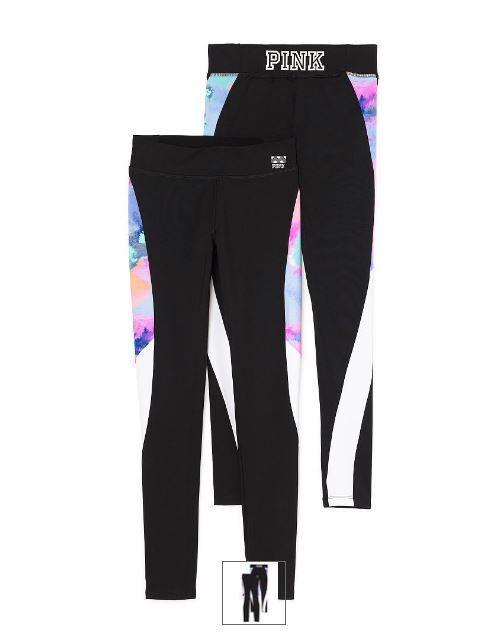 Victorias Secret Pink Yoga Leggings Pants S Neon Ultimate Pastel Watercolor