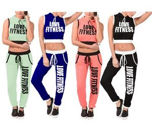 New Ladies Women LOVE FITNESS Gym Yoga Hooded 2pcs Tracksuit Jogging Set UK 8-14
