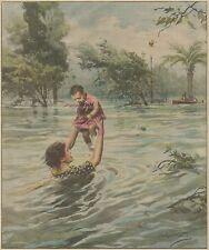K1243 Melbourne - Madre con acqua alla gola - Stampa d'epoca - 1934 old print