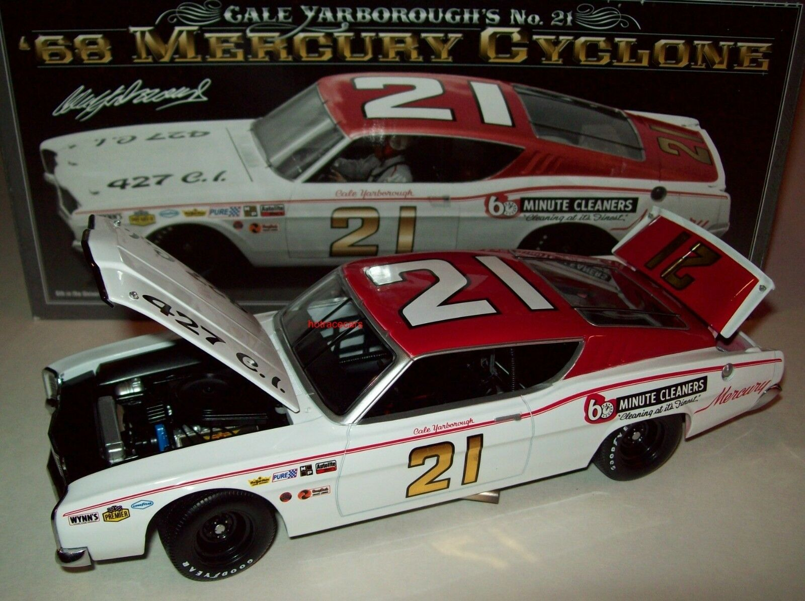 Cale Yarborugh 1968 MERCURY CYCLONE  21 Wood Brougehers 1 24 NASCAR Legends NEUF
