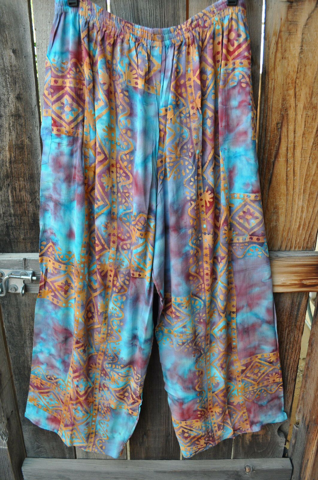 ART TO WEAR ANACAPA PANTS IN BEAUTIFUL NEW CALYPSO BATIK BY MISSION CANYON,OS+