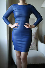 MASON BY MICHELLE MASON BLUE LEATHER DRESS SMALL