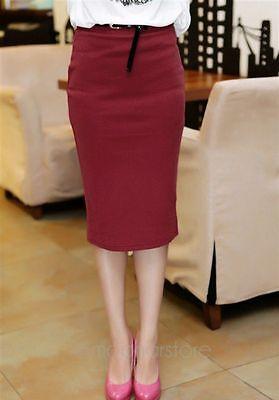 Fashion Womens High Waist Bodycon Slim Stretch Business Pencil Midi Skirt Dress