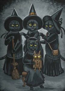 5x7-PRINT-OF-PAINTING-HALLOWEEN-RYTA-BLACK-CAT-WITCH-SISTERHOOD-WITCHCRAFT-ART