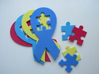 48 Autism Awareness Foam Shapes Ribbons Puzzle Piece Crafts Decorations Free S/h