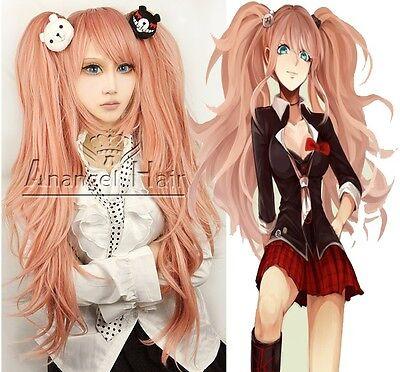 Danganronpa Junko Enoshima Cosplay wig Long Synthetic Pink Lolita Hair Wigs+Cap