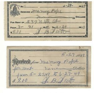 Pair of 1949 Rent Receipts $9. North 4th St. Nashville TN Tennessee to Mary Pope