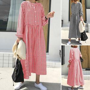 ZANZEA-Femme-Verifier-Manche-Longue-Bouton-avant-Flowy-Ample-Robe-Dresse-Plus