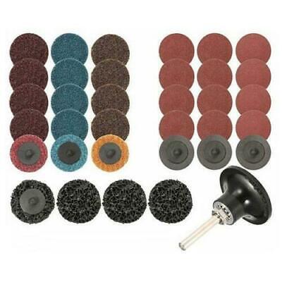 "52Pc Sanding Discs Set,2/"" Inch Roloc Quick Change Roll Lock Surface Polishing"