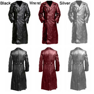 Men-Retro-PU-Long-Jacket-Coat-Gothic-Steampunk-Leather-Vampire-Medieval-Solid