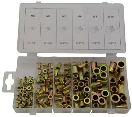 M3 M4 M5 M6 M8 M10 Nietmutter Einnietmutter Stahl Blindnietmutter Satz 150-tlg