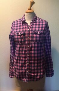 424be426fc Women s Abercrombie   Fitch Pink Plaid Flannel Button Down Top Size ...