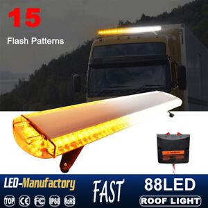 """47/"""" 88 LED EMERGENCY BEACON LIGHT BAR ROOF TRUCK WARNING FLASH STROBE LAMP AMBER"""