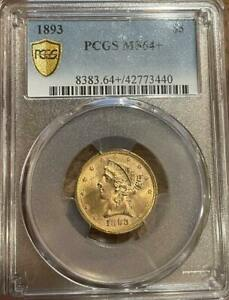 1893 $5 Gold Liberty Head Half Eagle PCGS MS 64+ Plus Grade