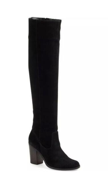 98deb1636e7 NIB STEVE MADDEN Eternul Over the Knee Black Suede Block Heel Boots Size US  7.5