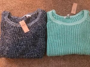 Details about NWT AMERICAN EAGLE Knit Cotton Sweater Blue OR Green, Scoop Neck