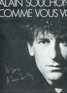 Autographe dédicace ORIGINAL du Chanteur ALAIN SOUCHON sur Pochette LP 33T 1985