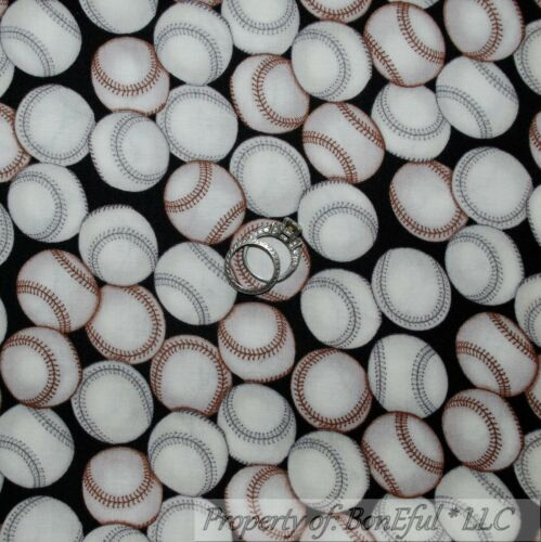 BonEful FABRIC FQ Cotton Quilt B/&W Gray Tan Red Ball Baseball Soft Sport Antique