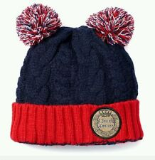 NWT Juicy Couture Pom-Pom Cable-Knit Beanie Cozy Knit Hat Fashion Deep Navy -