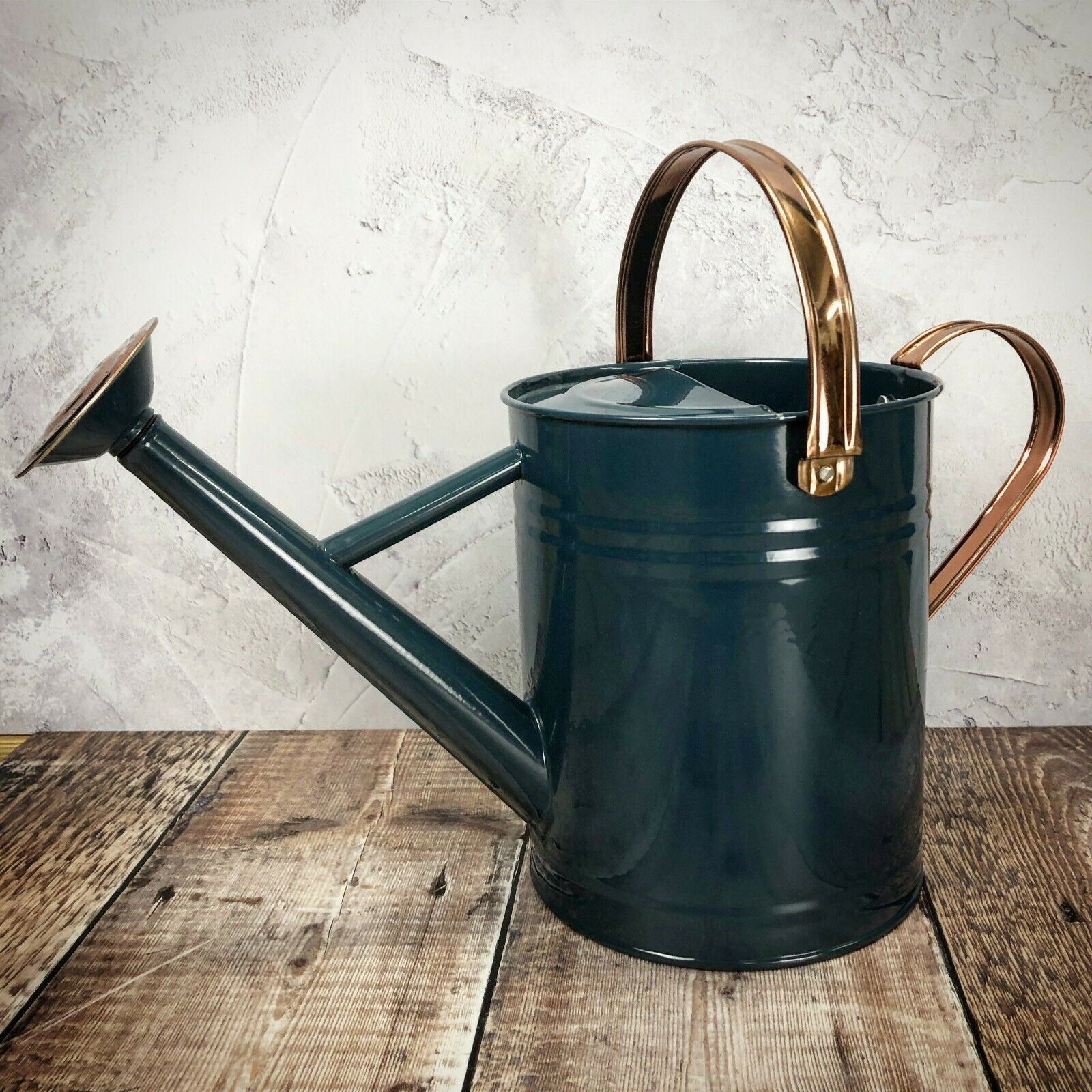 3.5 Litre Selections Heritage Blue & Copper Metal Watering Can with Rose