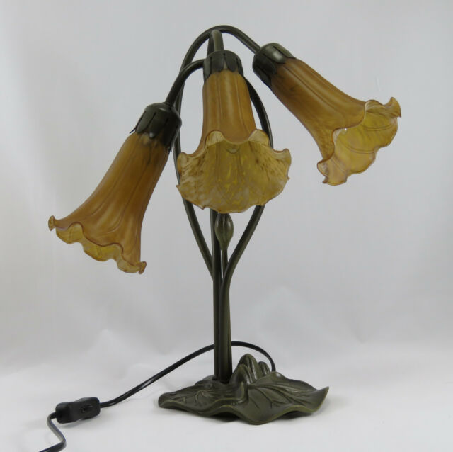 ART DECO LILY 3L TABLE LAMP ANTIQUE BRASS FINISH + COGNAC (AMBER) GLASS SHADES