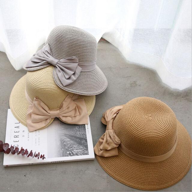 d196580c Girl Lady Sun Protect Foldable Large Brim Cap Beach Sun Hat Women Big  Bowknot