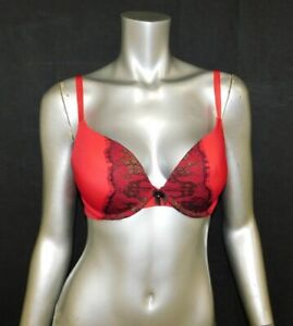 SOFIA-VERGARA-NEW-Red-Black-Lace-Thick-Padded-Cup-Underwire-Plunge-Bra-sz-34C