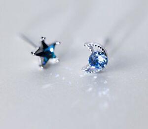 925 Sterling Silver Crystal Star Blue Yellow Kids Girl Women Stud Earrings 5mm