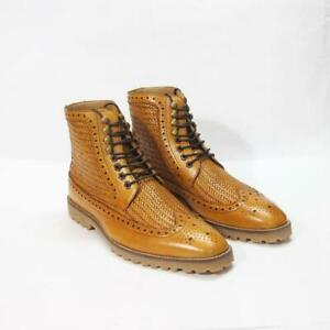 Bout-D-039-Aile-Richelieu-a-hommes-robe-tissee-Bottines-Casual-Handmade-Cuir-Veau-Chaussures