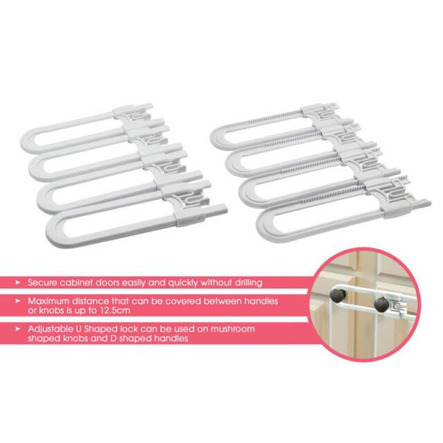 4pcs Child Safety Cabinet Latches Baby Safe Closet Kitchen Door U